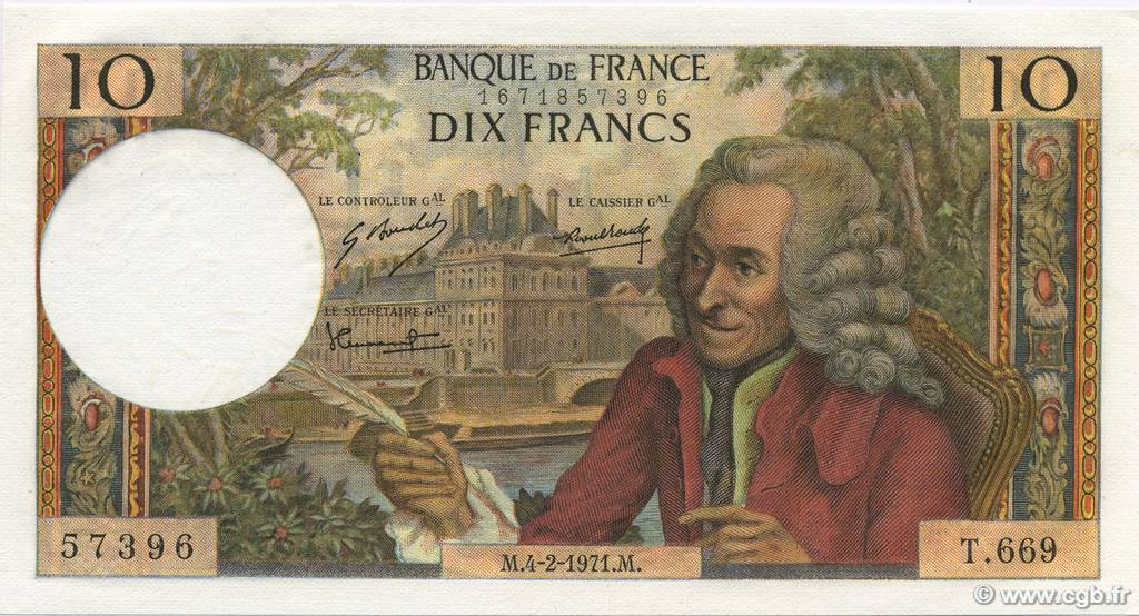 10 Francs VOLTAIRE FRANCE  1971 F.62.49 pr.NEUF