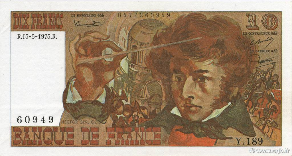 10 Francs BERLIOZ FRANCE  1975 F.63.10 SUP+