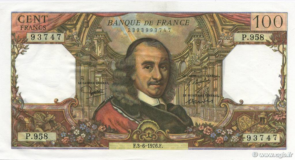 100 Francs CORNEILLE FRANCE  1976 F.65.53 SPL+