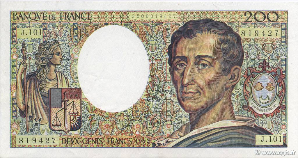 200 Francs MONTESQUIEU alphabet 101 FRANCE  1992 F.70bis.01 SPL+