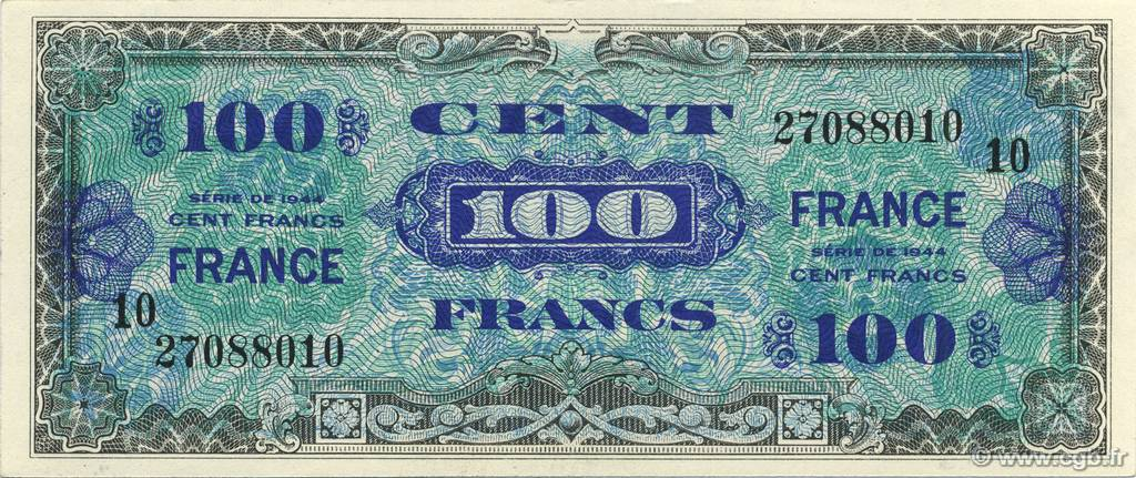 100 Francs FRANCE FRANCE  1944 VF.25.10 pr.SPL