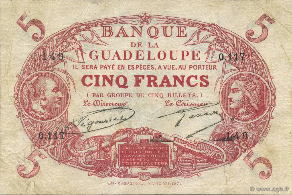 5 Francs Cabasson rouge GUADELOUPE  1930 P.07- TB