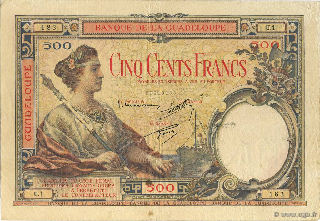 500 Francs, type 1927 GUADELOUPE  1934 K.114a TTB