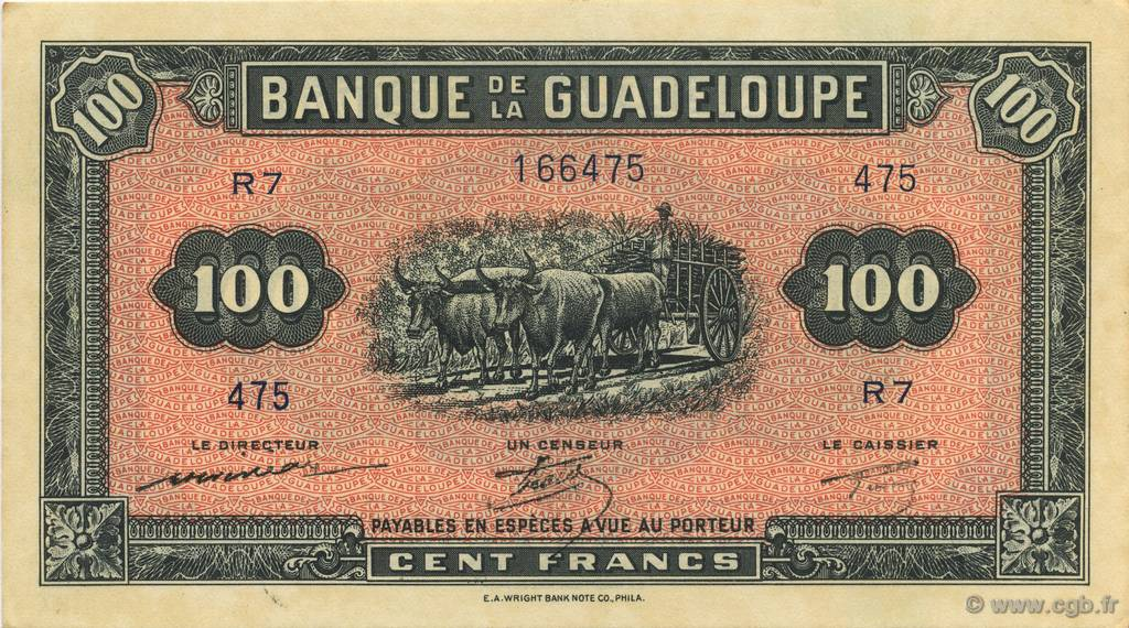 100 Francs, type Américain GUADELOUPE  1944 P.23a NEUF