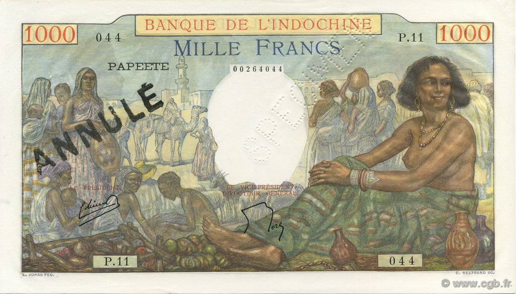 1000 Francs TAHITI  1954 P.15bs SUP