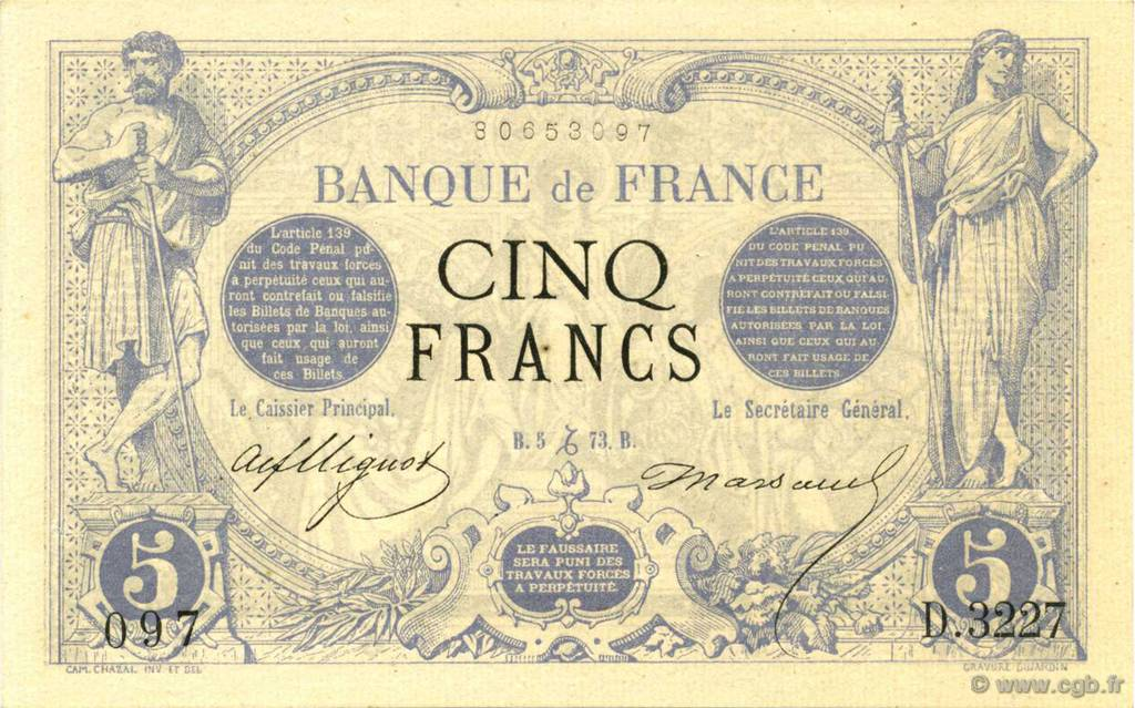 5 Francs NOIR FRANCE  1873 F.01.24 SUP+