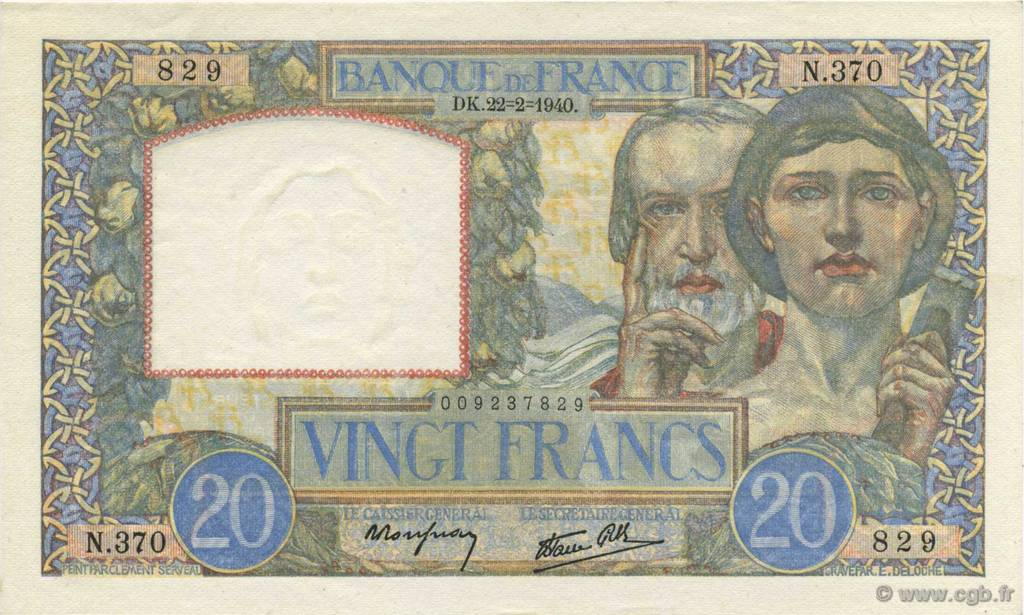 20 Francs SCIENCE ET TRAVAIL FRANCE  1940 F.12.02 pr.SPL
