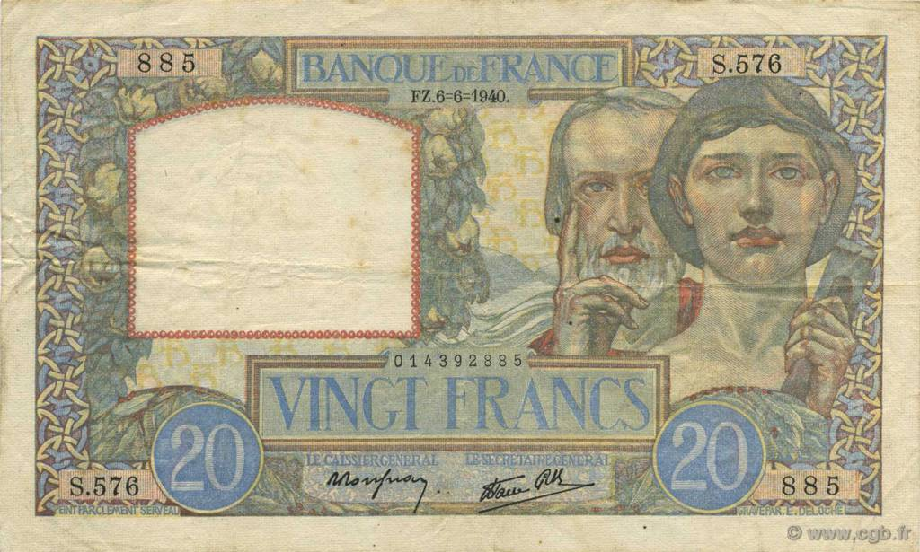 20 Francs SCIENCE ET TRAVAIL FRANCE  1940 F.12.03 TTB