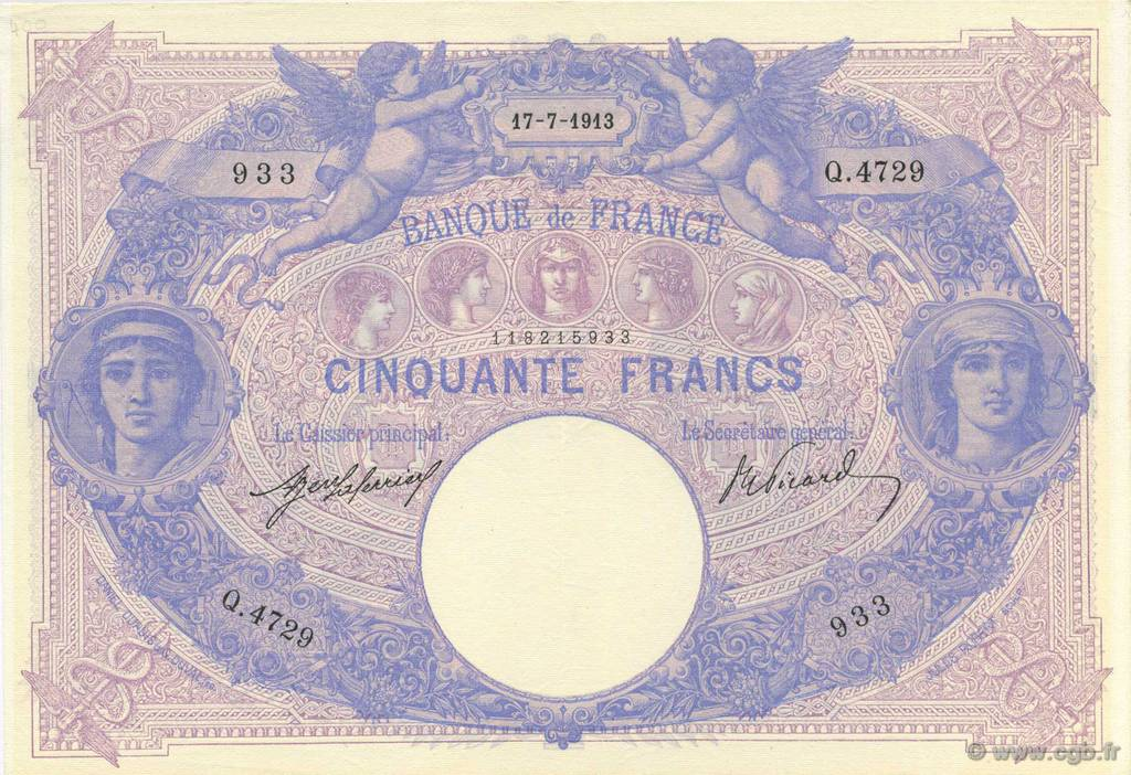 50 Francs BLEU ET ROSE FRANCE  1913 F.14.26 SUP+