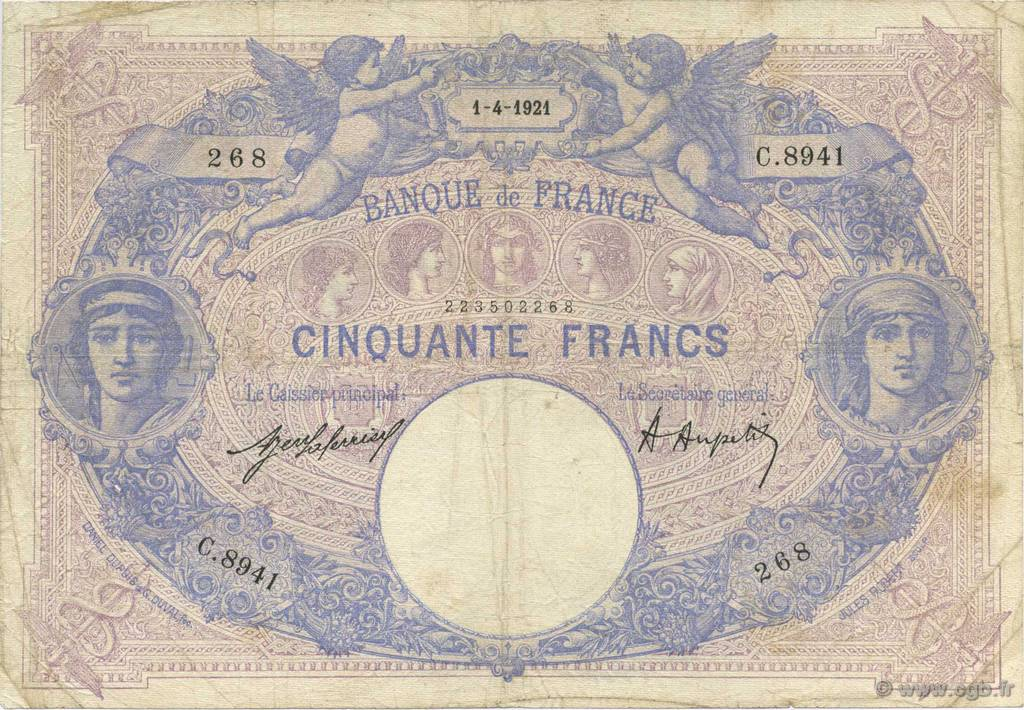 50 Francs BLEU ET ROSE FRANCE  1921 F.14.34 TB