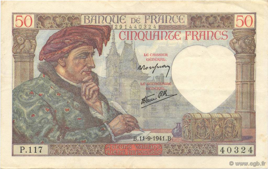 50 Francs JACQUES CŒUR FRANCE  1941 F.19.14 SUP