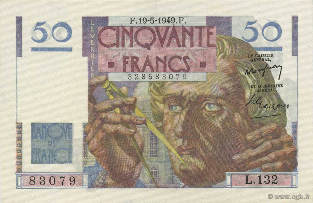 50 Francs LE VERRIER FRANCE  1949 F.20.12 pr.SPL