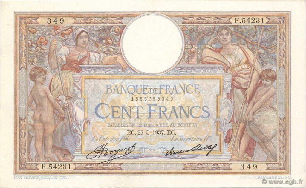 100 Francs LUC OLIVIER MERSON grands cartouches FRANCE  1937 F.24.16 SUP à SPL
