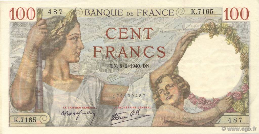 100 Francs SULLY FRANCE  1940 F.26.22 SUP
