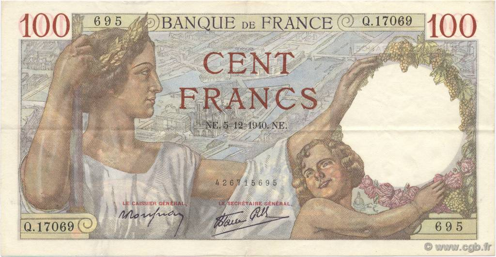100 Francs SULLY FRANCE  1940 F.26.42 SUP