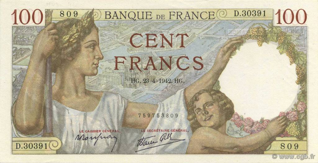100 Francs SULLY FRANCE  1942 F.26.70 NEUF