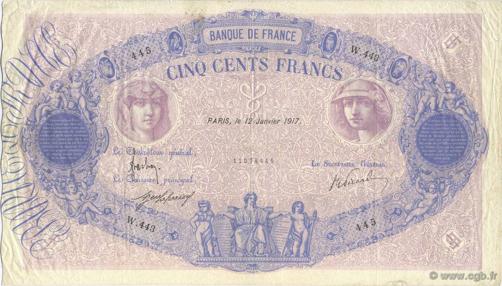 500 Francs BLEU ET ROSE FRANCE  1917 F.30.23 TTB