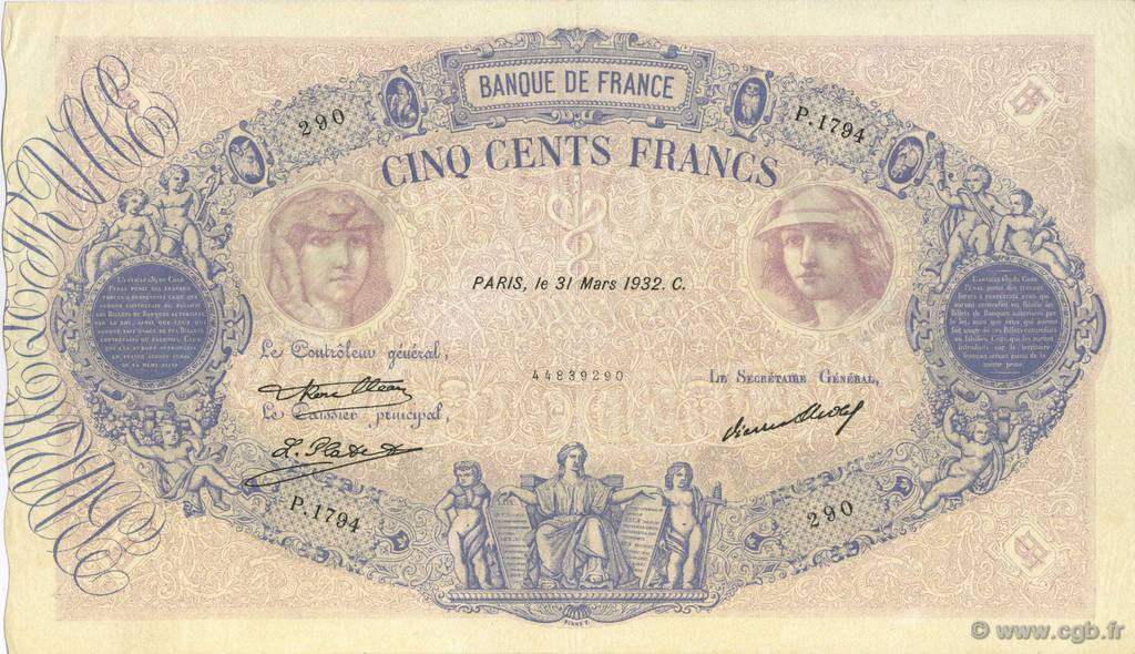 500 Francs BLEU ET ROSE FRANCE  1932 F.30.35 SUP