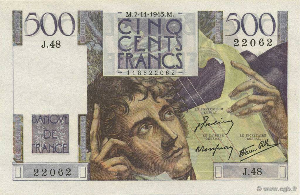 500 Francs CHATEAUBRIAND FRANCE  1945 F.34.03 pr.NEUF