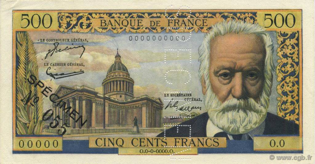 500 Francs VICTOR HUGO FRANCE  1954 F.35.00 SUP