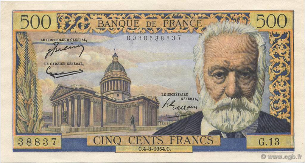 500 Francs VICTOR HUGO FRANCE  1954 F.35.02 SUP+