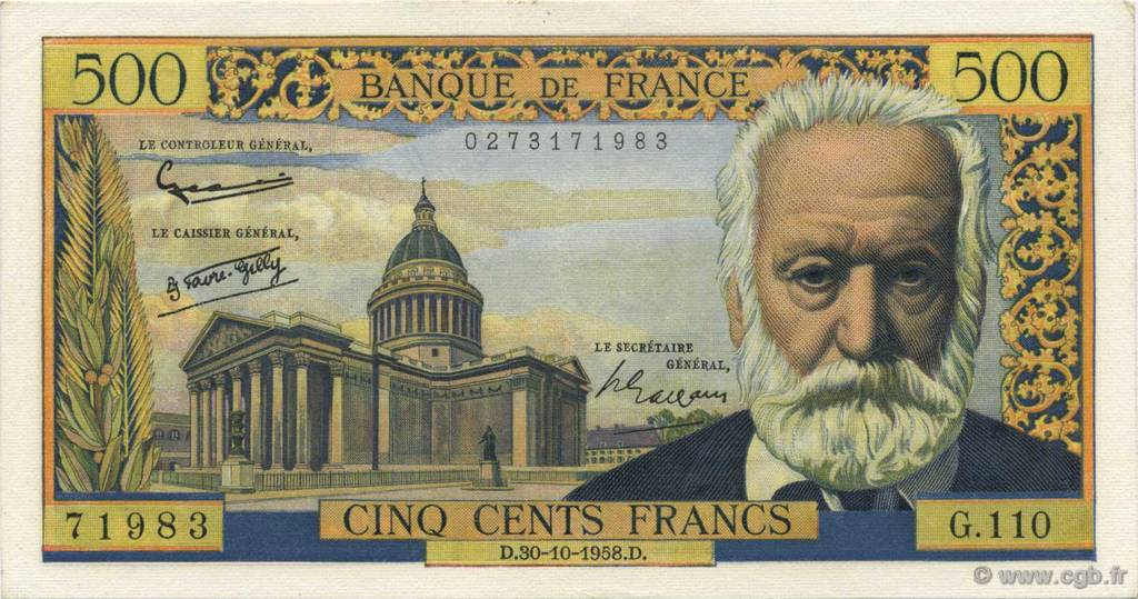 500 Francs VICTOR HUGO FRANCE  1958 F.35.11 SPL