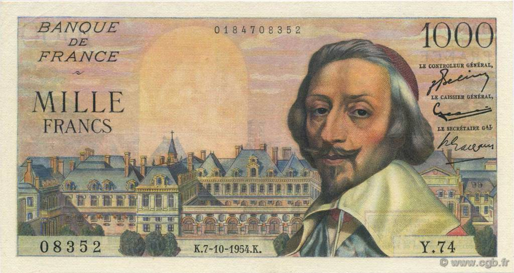 1000 Francs RICHELIEU FRANCE  1954 F.42.08 SUP