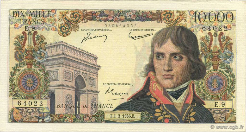 10000 Francs BONAPARTE FRANCE  1956 F.51.02 SUP