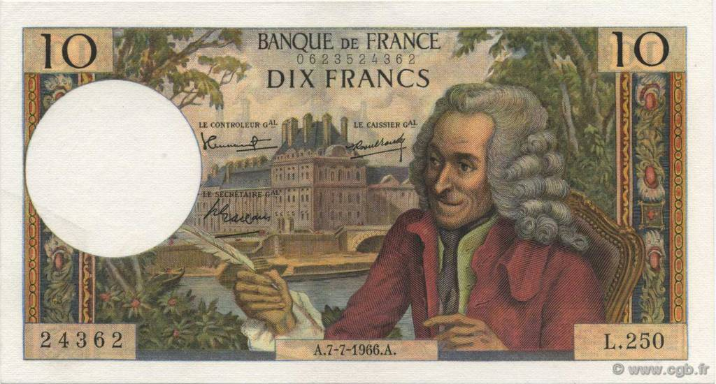 10 Francs VOLTAIRE FRANCE  1966 F.62.22 pr.NEUF