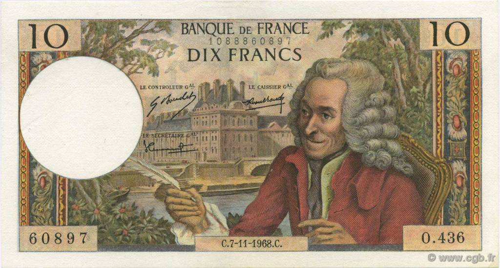 10 Francs VOLTAIRE FRANCE  1968 F.62.35 SUP+