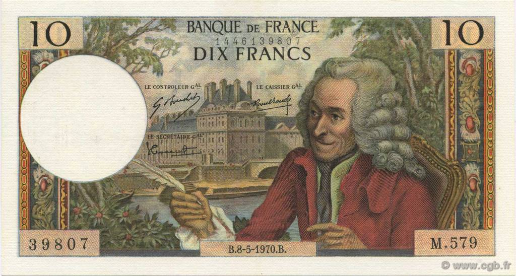 10 Francs VOLTAIRE  FRANCE  1970 F.62.44 SUP+