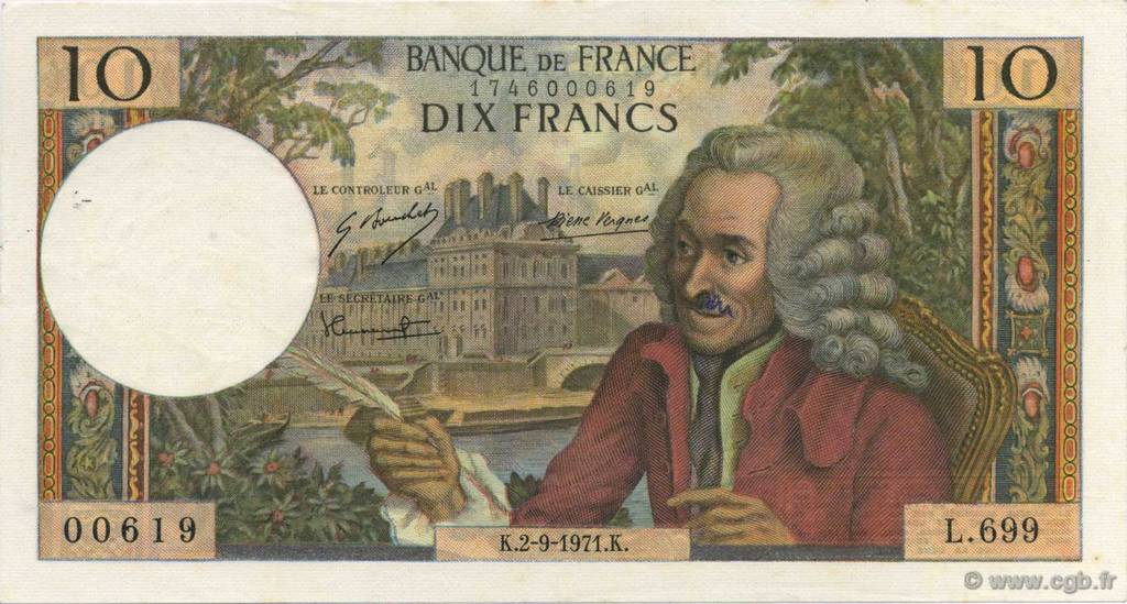 10 Francs VOLTAIRE FRANCE  1971 F.62.51 SUP+