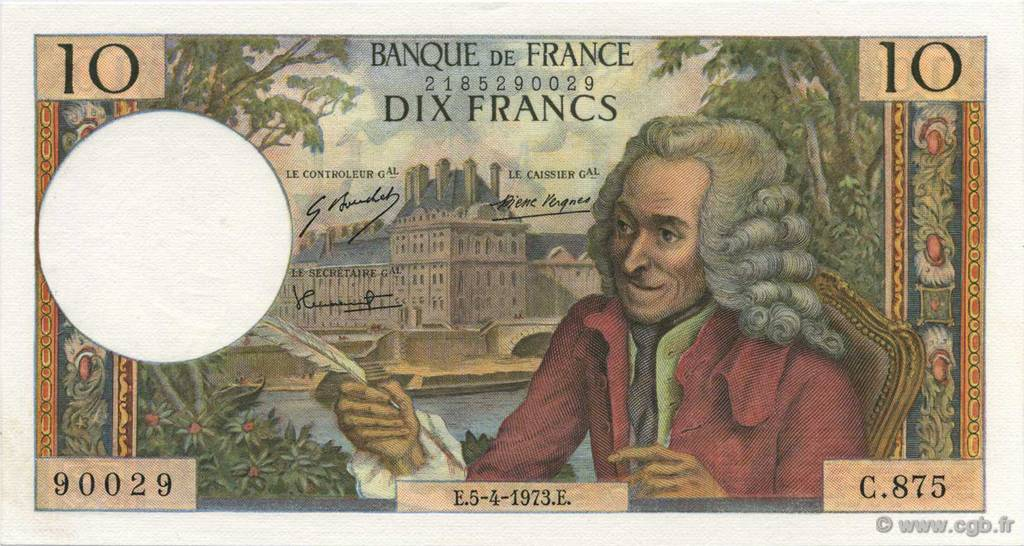 10 Francs VOLTAIRE FRANCE  1973 F.62.61 pr.NEUF