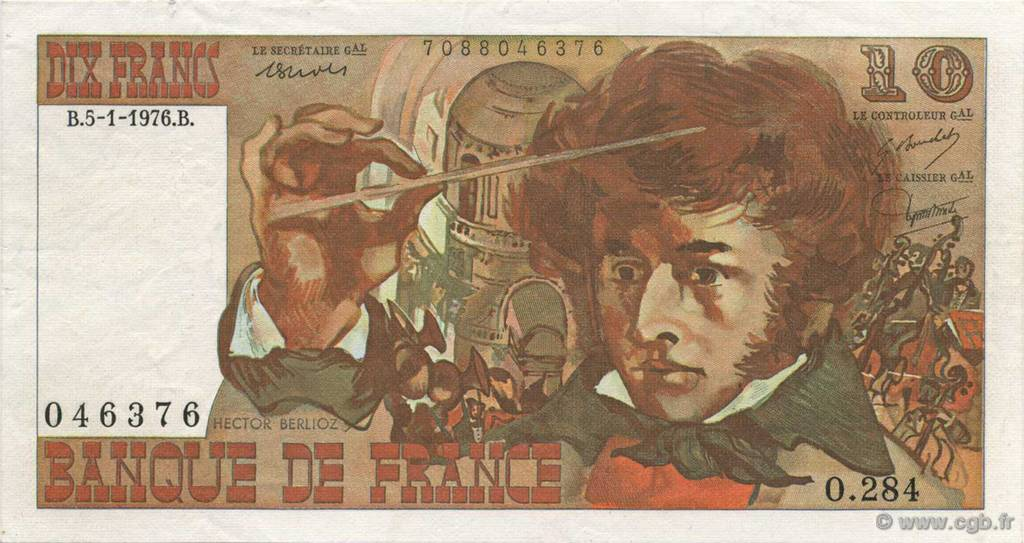 10 Francs BERLIOZ FRANCE  1976 F.63U.01 SUP