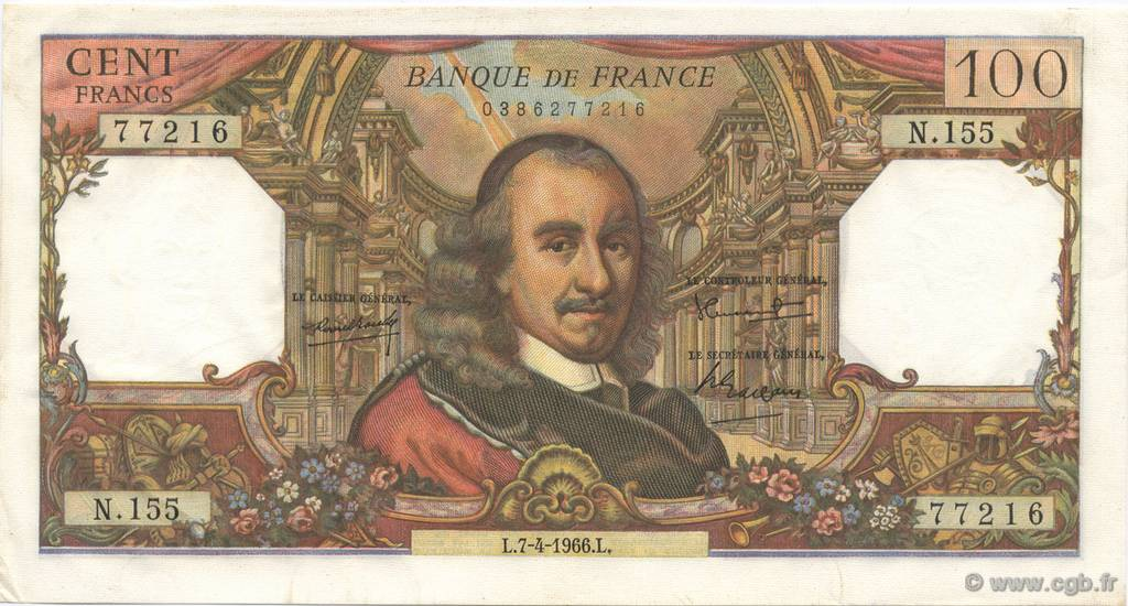 100 Francs CORNEILLE FRANCE  1966 F.65.12 SPL