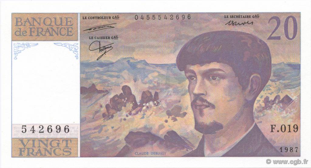 20 Francs DEBUSSY FRANCE  1987 F.66.08 SPL