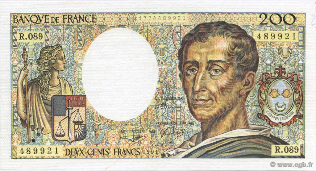 200 Francs MONTESQUIEU UNIFACE FRANCE  1991 F.70U.04 SPL