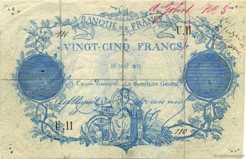 25 Francs Clermont-Ferrand - FAUX FRANCE 1871 F.A44.01 p14_0032 Billets