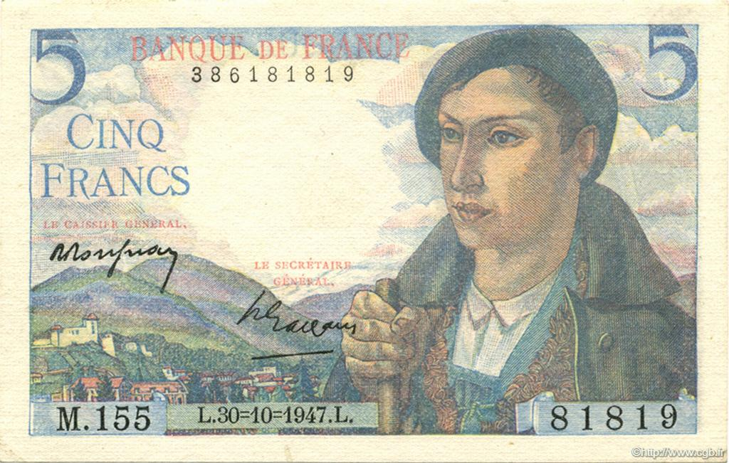 5 Francs BERGER FRANCE  1947 F.05.07 NEUF