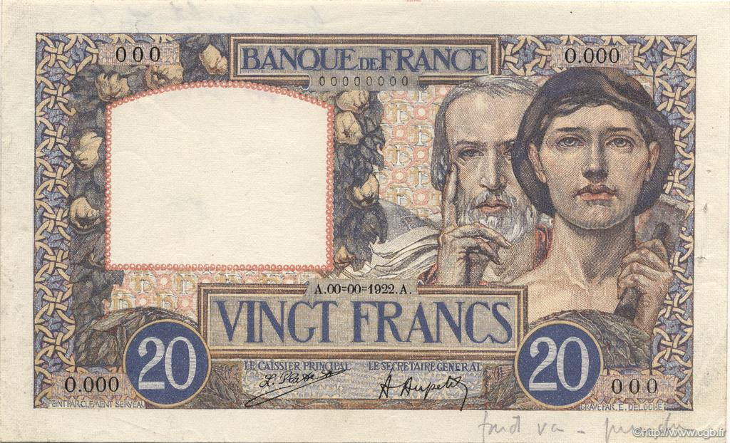 20 Francs SCIENCE ET TRAVAIL FRANCE  1922 F.12.00 SPL