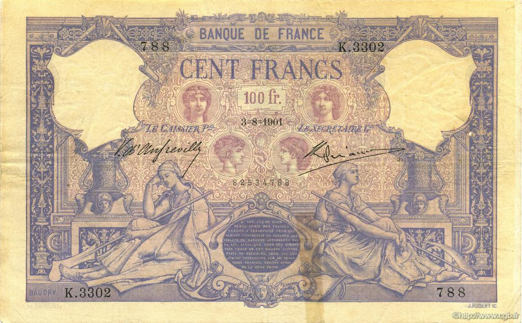 100 Francs BLEU ET ROSE FRANCE  1901 F.21.15 pr.TTB