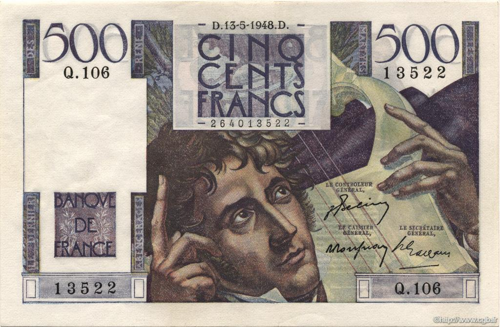 500 Francs CHATEAUBRIAND FRANCE  1948 F.34.08 SUP+