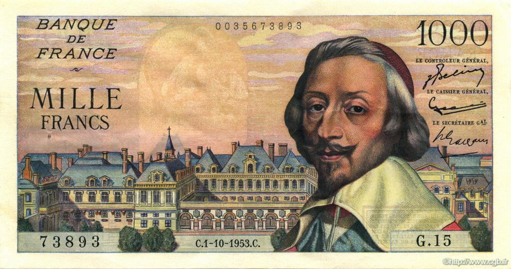 1000 Francs RICHELIEU FRANCE  1953 F.42.03 pr.SPL