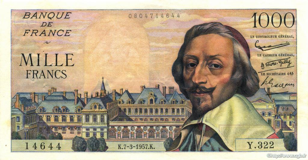1000 Francs RICHELIEU FRANCE  1957 F.42.25 TTB+