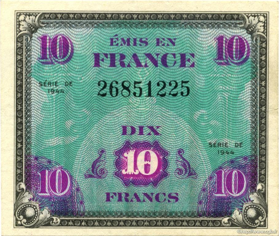 10 Francs Drapeau FRANCE  1944 VF.18.01 SUP+