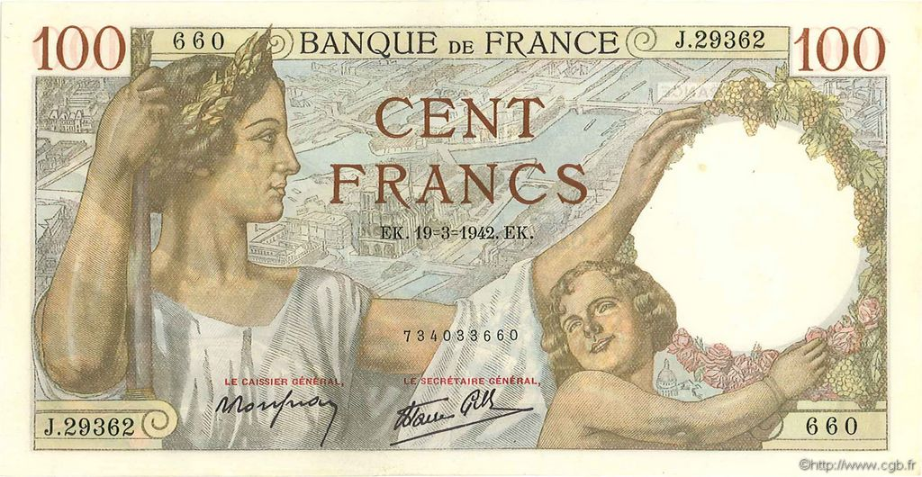 100 Francs SULLY FRANCE  1942 F.26.68 pr.SPL