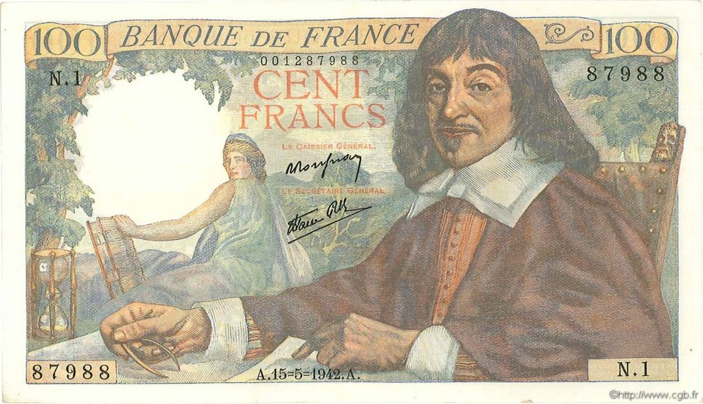 100 Francs DESCARTES FRANCE  1942 F.27.01 SPL