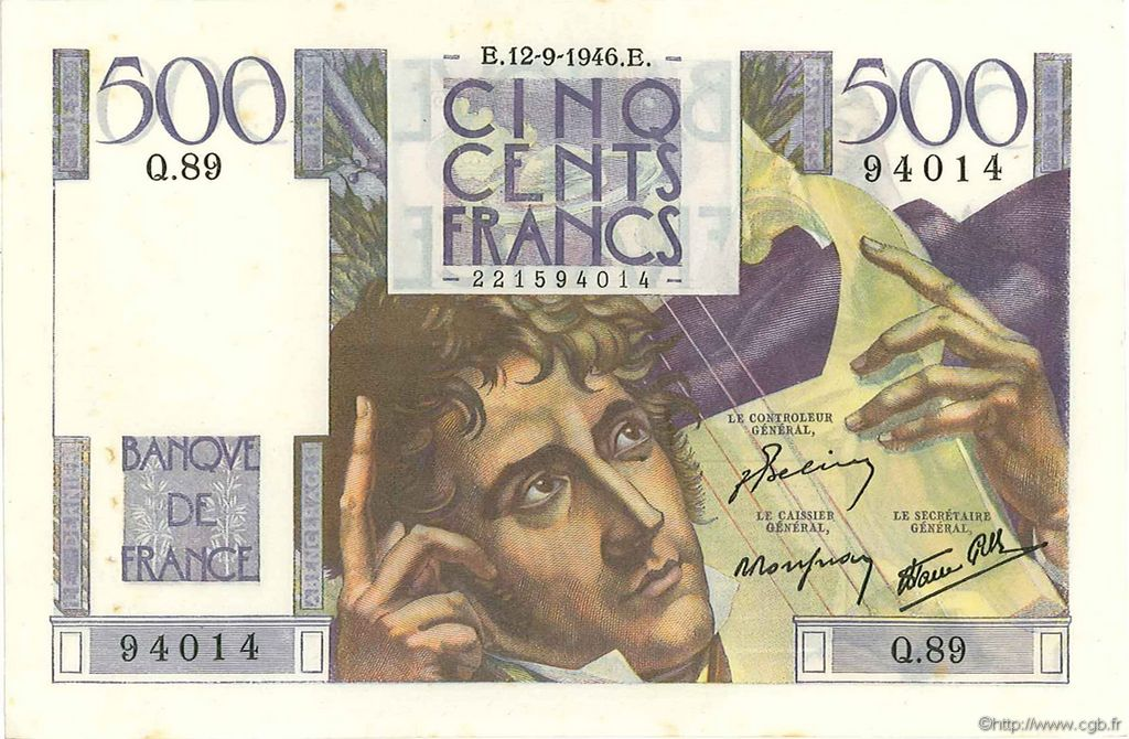 500 Francs CHATEAUBRIAND FRANCE  1946 F.34.06 SUP
