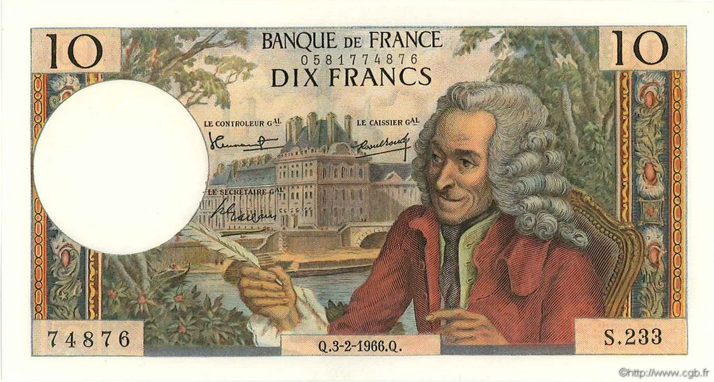 10 Francs VOLTAIRE FRANCE  1966 F.62.20 pr.NEUF