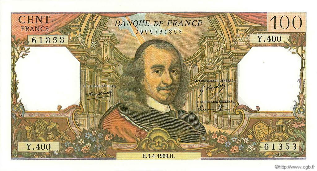 100 Francs CORNEILLE FRANCE  1969 F.65.26 pr.SPL